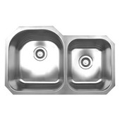 Double Bowl Undermount Sink, 31 7/8''W x 19 7/8'' D, Brushed Stainless Steel