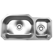 Double Bowl Undermount Sink, 32 3/4''W x 16 3/4'' D, Brushed Stainless Steel