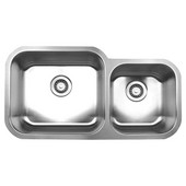 Double Bowl Undermount Sink, 33 1/2''W x 17 7/8'' D, Brushed Stainless Steel