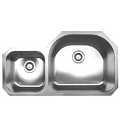 Double Bowl Undermount Sink, 37''W x 20 7/8'' D, Brushed Stainless Steel