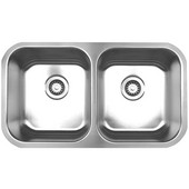Double Bowl Undermount Sink, 31 3/8''W x 18'' D, Brushed Stainless Steel