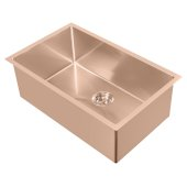 Noah Plus Collection 29''W 16 Gauge Single Bowl Linen Textured Dual-Mount Kitchen Sink Set With Strainer and Kitchen Sink Grid, Copper Finish