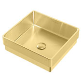 Noah Plus Collection 10 Gauge Frame, 15-3/4''W Square Semi-recessed Bathroom Sink Set With Center Drain, Brass Finish
