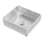 Noah Plus Collection 10 Gauge Frame, 15-3/4''W Square Semi-recessed Bathroom Sink Set With Center Drain, Brushed Stainless Steel Finish