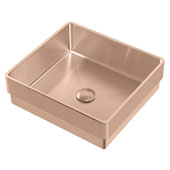 Noah Plus Collection 10 Gauge Frame, 15-3/4''W Square Semi-recessed Bathroom Sink Set With Center Drain, Copper Finish