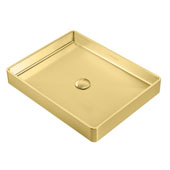 Noah Plus Collection 10 Gauge Frame, 20-1/2''W Rectangular Above Mount Bathroom Sink Set With Center Drain, Brass Finish