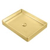 Noah Plus Collection 10 Gauge Frame, 20-1/2''W Rectangular Above Mount Bathroom Sink Set With Center Drain, Brass Finish