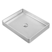 Noah Plus Collection 10 Gauge Frame, 20-1/2''W Rectangular Above Mount Bathroom Sink Set With Center Drain, Brushed Stainless Steel Finish