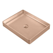 Noah Plus Collection 10 Gauge Frame, 20-1/2''W Rectangular Above Mount Bathroom Sink Set With Center Drain, Copper Finish