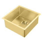 Noah Plus Collection 17-3/4''W 16 Gauge Single Bowl Linen Textured Dual-Mount Kitchen Sink Set With Strainer and Sink Grid, Brass Finish