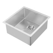 Noah Plus Collection 17-3/4''W 16 Gauge Single Bowl Linen Textured Dual-Mount Kitchen Sink Set With Strainer and Sink Grid, Brushed Stainless Steel Finish