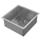 Noah Plus Collection 17-3/4''W 16 Gauge Single Bowl Linen Textured Dual-Mount Kitchen Sink Set With Strainer and Sink Grid, Gunmetal Finish