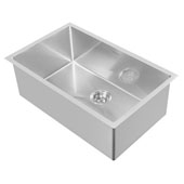 Noah Plus Collection 29''W 16 Gauge Single Bowl Linen Textured Dual-Mount Kitchen Sink Set With Strainer and Kitchen Sink Grid, Brushed Stainless Steel Finish