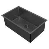 Noah Plus Collection 29''W 16 Gauge Single Bowl Textured Dual-Mount Kitchen Sink Set With Strainer and Kitchen Sink Grid, Matte Black Finish