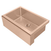 Noah Plus Collection 30''W 16 Gauge Single Bowl Undermount Kitchen Sink Set With Seamless Customized Front Apron, Copper Finish