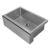 Noah Plus Collection 30''W 16 Gauge Single Bowl Undermount Kitchen Sink Set With Seamless Customized Front Apron, Gun Metal Finish