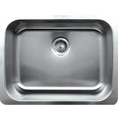 Noahs Collection Undermount Kitchen Sink, Brushed Stainless Steel, 25-1/4''W x 19-1/4''D x 9''H
