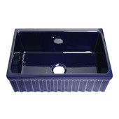 - Farmhaus Quatro Alove Reversible Fireclay Sink, 30''W x 20''D x 10'' H, Sapphire Blue