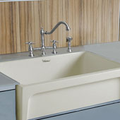 Fireclay 30'' Reversible Sink with Elegant Beveled Front Apron on one side and Decorative 2'' Lip Plain on Opposite Side In Biscuit, 30''W x 20''D x 10''H