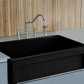 Fireclay 30'' Reversible Sink with Elegant Beveled Front Apron on one side and Decorative 2'' Lip Plain on Opposite Side In Black, 30''W x 20''D x 10''H