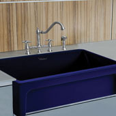 Fireclay 30'' Reversible Sink with Elegant Beveled Front Apron on one side and Decorative 2'' Lip Plain on Opposite Side In Sapphire Blue, 30''W x 20''D x 10''H