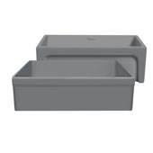 Glencove 30'' Reversible Matte Kitchen Fireclay Sink with Elegant Beveled Front Apron on one side and a Decorative 2'' Lip Plain on Opposite Side in Matte Cement, 30'W x 20'D x 10'H