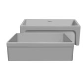 Glencove 30'' Reversible Matte Kitchen Fireclay Sink with Elegant Beveled Front Apron on one side and a Decorative 2'' Lip Plain on Opposite Side in Light Cement, 30'W x 20'D x 10'H