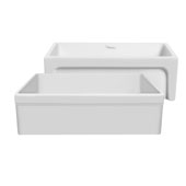 Glencove 30'' Reversible Matte Kitchen Fireclay Sink with Elegant Beveled Front Apron on one side and a Decorative 2'' Lip Plain on Opposite Side in Matte White, 30'W x 20'D x 10'H