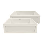 Shakerhaus 33'' Reversible Kitchen Fireclay Sink with Shaker Design Front Apron on one Side and an Elegant Beveled Front Apron on the Opposite Side in Biscuit, 33'W x 20'D x 10'H