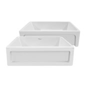 Shakerhaus 33'' Reversible Kitchen Fireclay Sink with Shaker Design Front Apron on one Side and an Elegant Beveled Front Apron on the Opposite Side in White, 33'W x 20'D x 10'H
