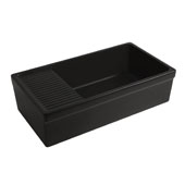 Farmhaus Quatro Alcove Large Reversible Matte Fireclay Kitchen Sink with Integral Drainboard and a Decorative2-1/2'' Lip Front Apron on Both Sides in Matte Black, 36'W x 20'D x 10'H