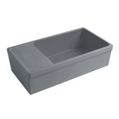 Farmhaus Quatro Alcove Large Reversible Matte Fireclay Kitchen Sink with Integral Drainboard and a Decorative2-1/2'' Lip Front Apron on Both Sides in Matte Cement, 36'W x 20'D x 10'H