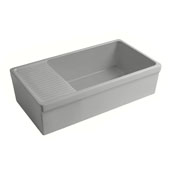 Farmhaus Quatro Alcove Large Reversible Matte Fireclay Kitchen Sink with Integral Drainboard and a Decorative2-1/2'' Lip Front Apron on Both Sides in Matte Light Cement, 36'W x 20'D x 10'H