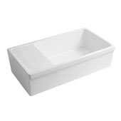 Farmhaus Quatro Alcove Large Reversible Matte Fireclay Kitchen Sink with Integral Drainboard and a Decorative2-1/2'' Lip Front Apron on Both Sides in Matte White, 36'W x 20'D x 10'H