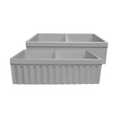 Farmhaus Quatro Alcove Reversible Matte Double Bowl Fireclay Kitchen Sink with Fluted 2'' Lip Front Apron on one Side and a2-1/2'' Lip Plain on the Opposite Side in Light Cement, 33'W x 20'D x 10'H