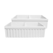 Farmhaus Quatro Alcove Reversible Matte Double Bowl Fireclay Kitchen Sink with Fluted 2'' Lip Front Apron on one Side and a2-1/2'' Lip Plain on the Opposite Side in Matte White, 33'W x 20'D x 10'H