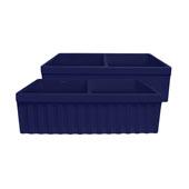 - Farmhaus Quatro Alove Reversible Double Bowl Fireclay Sink, Sapphire Blue