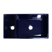Quatro Alcove Reversible Double Bowl Sink, Sapphire Blue