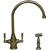 Queenhaus dual handle faucet with a long gooseneck spout, solid lever handles and solid brass side spray, Brushed Nickel Finish