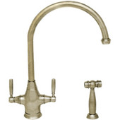 Queenhaus dual handle faucet with a long gooseneck spout, solid lever handles and solid brass side spray, Polished Nickel Finish