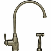 Queenhaus single lever faucet with a long gooseneck spout, solid single lever handle and solid brass side spray, Brushed Nickel Finish