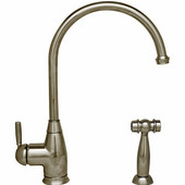 Queenhaus single lever faucet with a long gooseneck spout, solid single lever handle and solid brass side spray, Polished Nickel Finish