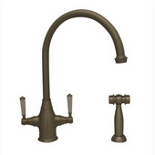 Queenhaus Collection Dual Handle Faucet with Long Gooseneck Spout, Handles and Side Spray in Brushed Nickel, 9'' W x 6-1/16'' D x 14-1/2'' H