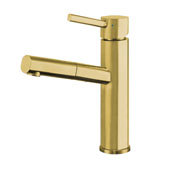 Waterhaus Lead-Free Solid Stainless Steel, Single Hole, Single Lever Kitchen Faucet with Pull-out Spray Head In Brass, 2-1/4''W x 7-1/2''D x 10-1/2''H