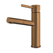 Waterhaus Lead-Free Solid Stainless Steel, Single Hole, Single Lever Kitchen Faucet with Pull-out Spray Head In Copper, 2-1/4''W x 7-1/2''D x 10-1/2''H