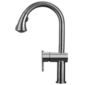 Waterhaus Lead Free Solid Stainless Steel Single-Hole Faucet with Gooseneck Swivel Spout, Pull Down Spray Head and Solid Lever Handle In Gunmetal, 2-1/4''W x 10''D x 15''H