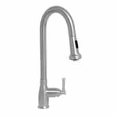 Waterhaus Lead Free Solid Stainless Steel Single-Hole Faucet with Gooseneck Swivel Spout, Pull Down Spray Head and Solid Lever Handle In Brushed Stainless Steel, 5''W x 8''D x 18-3/4''H