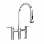 Waterhaus Lead-Free Solid Stainless Steel Bridge Faucet with a Gooseneck Swivel Spout, Pull Down Spray Head and Solid Lever Handles In Brushed Stainless Steel, 14-1/4''W x 9''D x 19-1/4''H