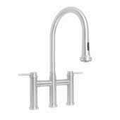 Waterhaus Lead-Free Solid Stainless Steel Bridge Faucet with a Gooseneck Swivel Spout, Pull Down Spray Head and Solid Lever Handles In Polished Stainless Steel, 14-1/4''W x 9''D x 19-1/4''H