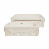 Glencove St. Ives 33'' Front Apron Fireclay Sink with an Intricate Vine Design on one side and an Elegant Beveled Front Apron on the Opposite Side In Biscuit, 33''W x 20''D x 10''H